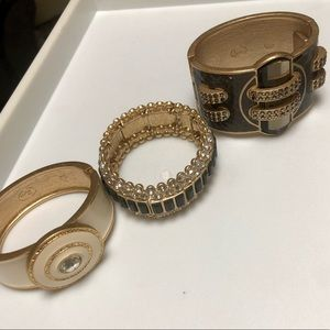 Lot of 3 Lia Sophia gold bracelets-like new